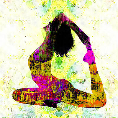Chakra Rainbow Mixed Media - Yoga - One-legged King Pigeon Pose by Stacey Chiew