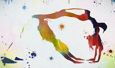 Yoga Pose Painting - Yoga Paint Splatter Balanced by Dan Sproul