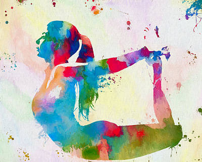 Yoga Pose Painting - Yoga Pose Paint Splatter One by Dan Sproul