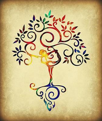 Woman Doing Yoga Digital Art - Yoga Tree 1 by Lilia D