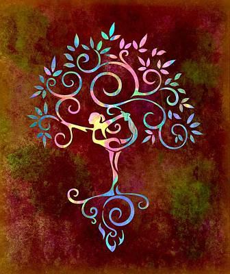 Woman Doing Yoga Digital Art - Yoga Tree 2 by Lilia D