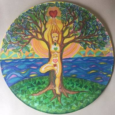 Tapestry - Textile - Yoga Tree Pose by Peg Toliver