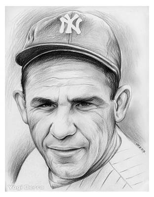 Sports Drawings - Yogi Berra by Greg Joens