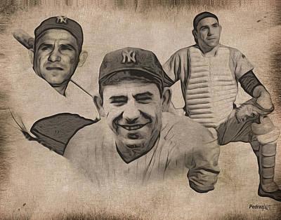 Ny Yankees Painting - Yogi by PedrazArt Digital Designs