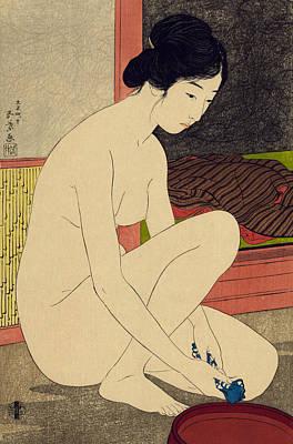 Asian Nude Drawing - Yokugo No Onna by Goyo Hashiguchi