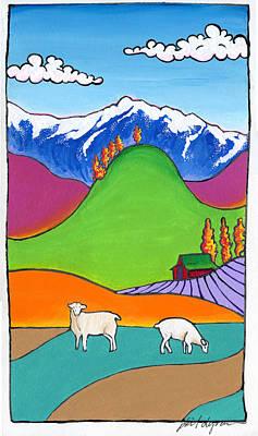 Painting - Yolla Bolly Sheep by Phil Dynan