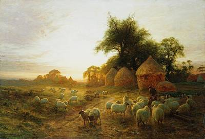 Farmyard Painting - Yon Yellow Sunset Dying In The West by Joseph Farquharson