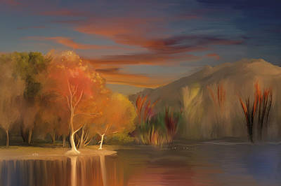 Yorba Linda Lake By Anaheim Hills Art Print by Angela A Stanton
