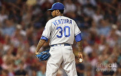 Baseball Mixed Media - Kansas City Royals Yordano Ace Ventura,  Painting, Forever Blue by Thomas Pollart