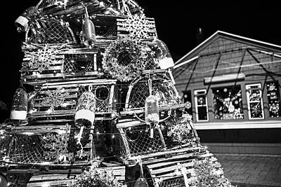 Photograph - York Me Lobster Trap Lighthouse Cape Neddick Nubble Maine Black And White by Toby McGuire