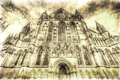 Photograph - York Minster Cathedral Vintage by David Pyatt