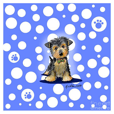 Dog Mixed Media - Yorkie Boy On Blue by Kim Niles