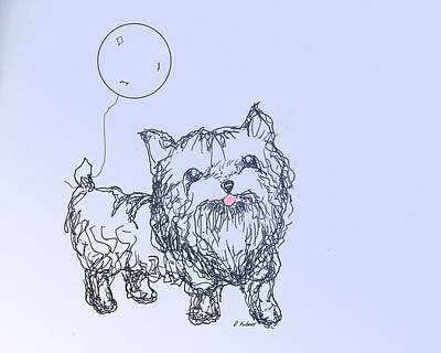Drawing - Yorkie by Denise Fulmer