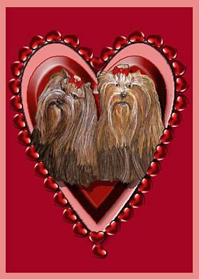 Digital Art - Yorkie Heart by Michelle Audas