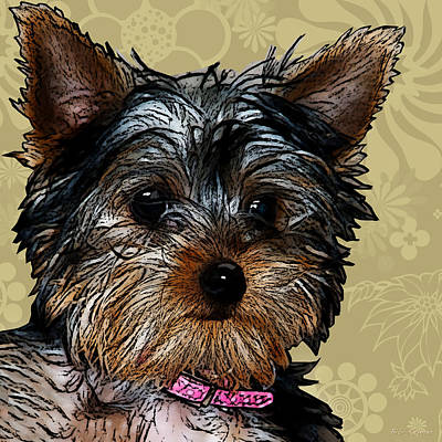 Dog Pop Art Photograph - Yorkie In Beige by Bibi Romer