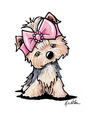 Cute Dogs Drawing - Yorkie In Bow by Kim Niles