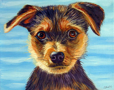 Yorkshire Terrier Puppy Painting - Yorkie Little Swimmer by Lyn Cook