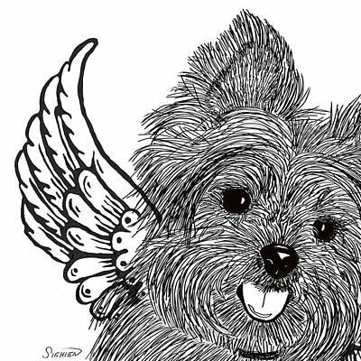 Yorkie Drawing - Yorkie Love by Patti Siehien