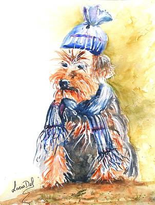 Yorkshire Terrier Watercolor Painting - Yorkie by Lucia Del