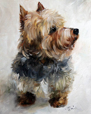 Dog Painting - Yorkie by Mary Sparrow