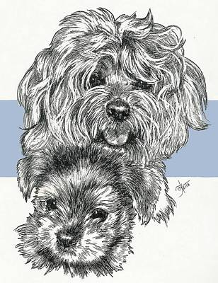 Mixed Media - Yorkie Poo And Pup by Barbara Keith
