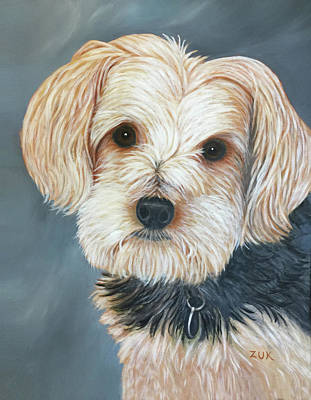 Art Print featuring the painting Yorkie Portrait by Karen Zuk Rosenblatt