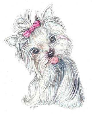 Cute Dogs Mixed Media - Yorkie Puppy by Morgan Fitzsimons