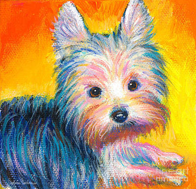 Funny Dog Painting - Yorkie Puppy Painting Print by Svetlana Novikova