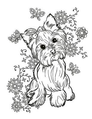 Yorkie Terrier Art Print by Cindy Elsharouni