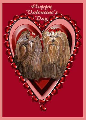 Digital Art - Yorkie Valentine Hearts by Michelle Audas
