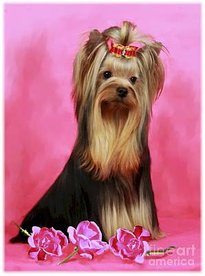 Terrier Digital Art - Yorkie With Roses by Maxine Bochnia