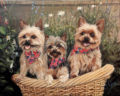 Wall Art - Painting - Yorkies In A Basket by C Keith Jones