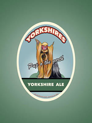 Yorkshire Terrier Wall Art - Drawing - Yorkshire Ale by John LaFree