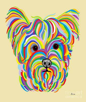 Yorkie Digital Art - Yorkshire Terrier ... Yorkie by Eloise Schneider