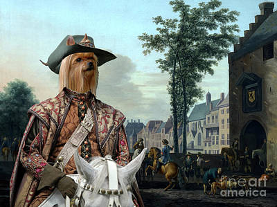 Painting - Yorkshire Terrier Art - A Hunting Party At The Hofvijver by Sandra Sij