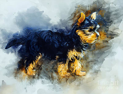 Mixed Media - Yorkshire Terrier by Ian Mitchell