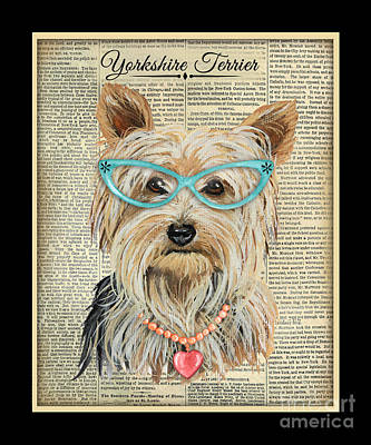 Heart Necklace Painting - Yorkshire Terrier-jp3856 by Jean Plout