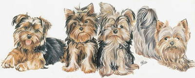Puppies Mixed Media - Yorkshire Terrier Puppies by Barbara Keith