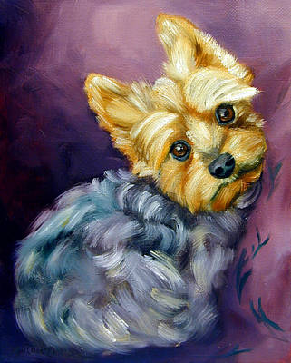 Yorkshire Terrier Puppy Painting - Yorkshire Terrier Yorkie Snuggles by Lyn Cook