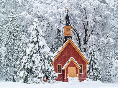 Photograph - Yosemite Chapel In The Snow by Bill Gallagher