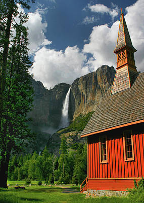 Yosemite Chapel Art Print by Tom Kidd