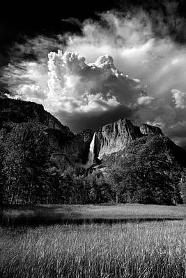 Photograph - Yosemite Falls And Thunderheads In Monochrome by Terrance Emerson