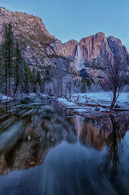 Photograph - Yosemite Falls At Early  Dawn - Vertical by Jonathan Nguyen