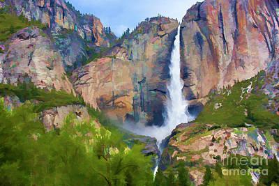 Photograph - Yosemite Falls Color California  by Chuck Kuhn