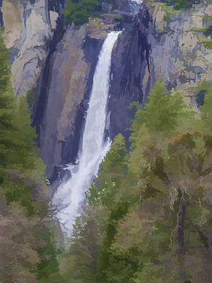Abstract Animalia Royalty Free Images - Yosemite Falls Digital Watercolor Royalty-Free Image by Bill Gallagher