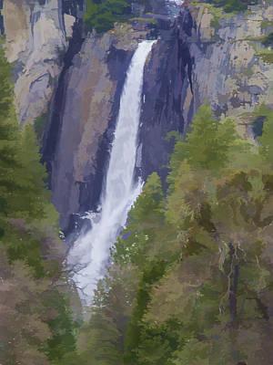Photograph - Yosemite Falls Digital Watercolor by Bill Gallagher