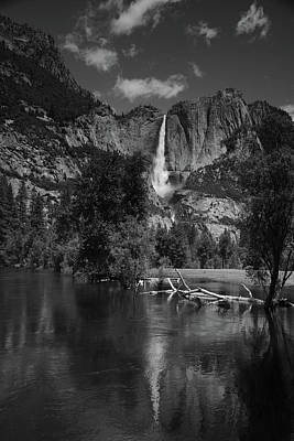 Yosemite Falls From Swinging Bridge In Black And White Art Print