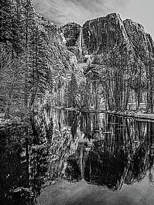 Yosemite Falls From The Swinging Bridge In Black And White Art Print by Bill Gallagher