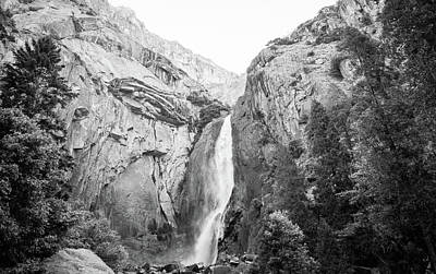 Mellow Yellow - Yosemite falls in black and white by Ron Miller