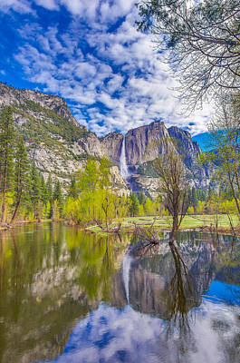 Yosemite Falls In Spring Reflection Art Print